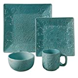 Savannah 16 Piece Dinnerware Set Color: Turquoise