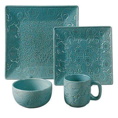 Savannah 16 Piece Dinnerware Set Color: Turquoise - Set a lovely table no matter what the occasion with this Savannah ceramic dinnerware These stunning glazed dinnerware pieces create a beautiful table presentation that is truly fun The 16 Piece service for four includes four each: 10.75 dinner plate - kitchen-tabletop, kitchen-dining-room, dinnerware-sets - 51xEoavKnvL. SS400  -