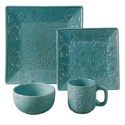- Savannah 16 Piece Dinnerware Set Color: Turquoise