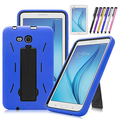 Windrew Heavy Duty Hybrid Protective Case with Kickstand Impact Resistant For Samsung Galaxy Tab E Lite 7.0 / Tab 3 Lite 7.0 SM-T110 T111 T113 + Screen Protector Film and stylus pen (Blue)
