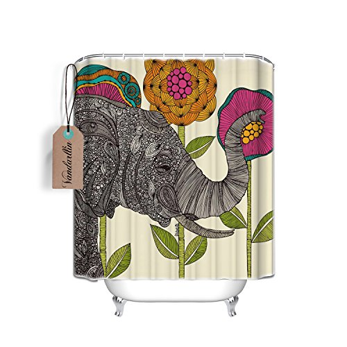 Vandarllin Waterproof Fabric Polyester Shower Curtains Liner Elephant 84 x 72 Inch