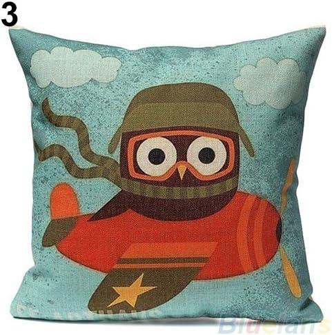 JujubeZAO Funda de Almohada/Funda de Almohada Cuadrada de Lino y algodón con diseño de búho para el sofá o el Coche: Amazon.es: Hogar