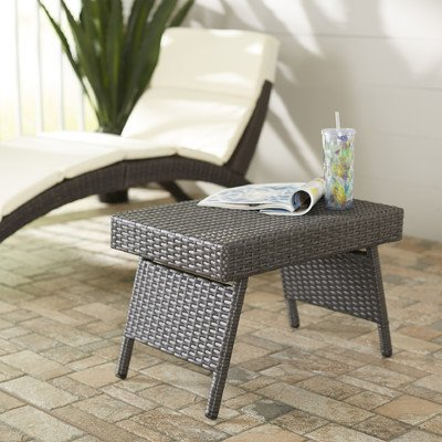 Patio Side Table Foldable Wicker Coffee Tables, Sturdy Elegant Outdoor Weather Resistant Pool Standing Folding Portable Furniture, Contemporary Style and Space Saver (Portable Outdoor Furniture)