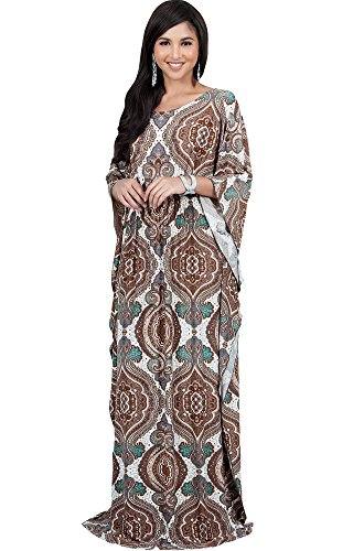 KOH KOH Plus Size Women Long Kaftan Caftan Boho Bohemian Print Flowy Casual Abaya Moroccan Summer Party Maternity Sun Muslim Gown Gowns Maxi Dress Dresses, Brown Ivory and Green XL -