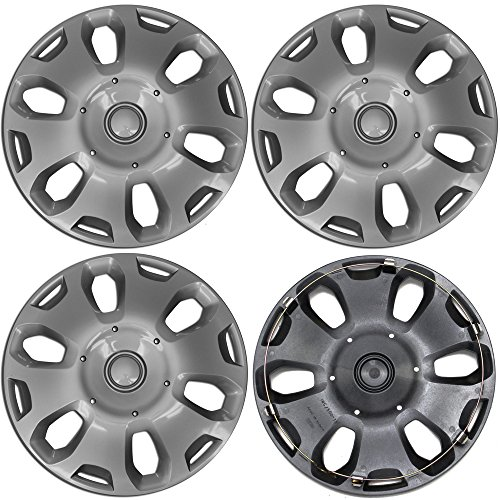 OxGord Hubcap for Ford Transit Connect (Pack of 4) Wheel Cover - 15 Inch, 6 Spoke, Snap On, Silver