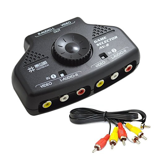 2 Way Video Splitter (Bonayuanda 2-Way 2 Input 1 Output Audio Video AV RCA Switcher Switch Selector Splitter Box)