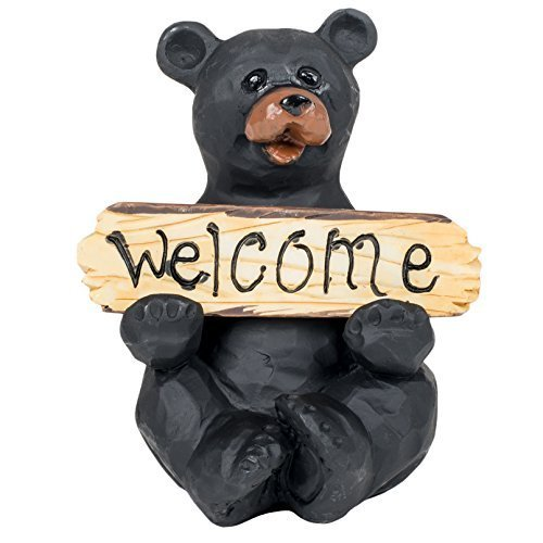 (Black Bear with Welcome and Go Away Sign Decorative Tabletop Figurine)