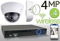 Wireless 4MP IP 2.7mm ~ 12mm Motorized Dome (4) Camera Kit (IP41)