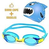 COPOZZ Kids Swimming Goggles + Swim Caps Child Chilren Toddler Age 4-12 (Blue)