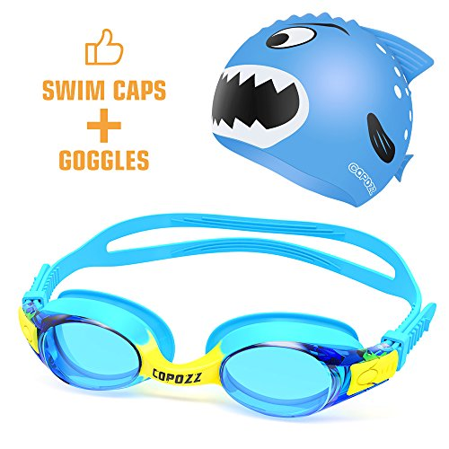 (COPOZZ Kids Swimming Goggles, Child (Age 4-12) Waterproof Swim Goggles with Clear Vision Anti Fog UV Protection No Leak Soft Silicone Frame and Strap for Kid Boys Girls and Early Teens (K1 Blue + Cap))