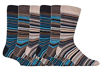 Sock Snob - 6 Pack Mens Thin Stripe Patterned Cotton Rich Business Dress Socks (6-11 uk, SS Bangkok)