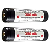 3400mAh 18650 Battery ORBTRONIC Protected Button Top Rechargeable High Performance Li-ion 3.7V for High Power Flashlights (Pack of: 2X Batteries)