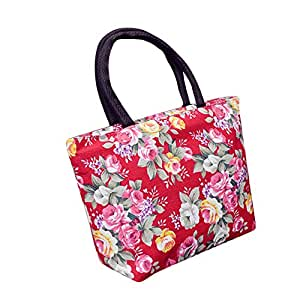 Wultia - Bags for Women 2019 Women Girls Printing Canvas Shopping Handbag Shoulder Tote Shopper Bag Luxury Handbags *0.92 Red