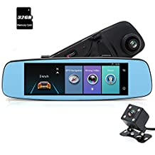 junsun 4G car GPS DVR rearview mirror with 7.86 inch IPS touch screen, built-in 16GB internal memory, with bluetooth handsfree, dual lens recording, parking assistance
