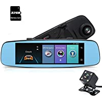 junsun 4G car GPS DVR rearview mirror with 7.86 inch IPS touch screen, built-in 16GB internal memory, with bluetooth handsfree, parking mode, G-sensor