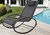 GREARDEN Patio Rocking Lounge Chair Aluminum Orbital Zero Gravity Chair Outdoor Recliner Pool Chaise Rocking Wave Lounger Chair with Pillow Capacity 250 Pounds …
