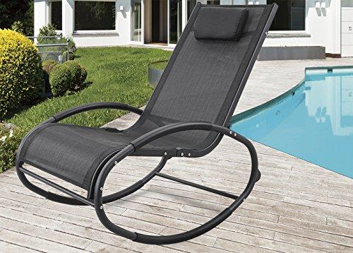 Grearden Patio Rocking Lounge Chair Aluminum Orbital Zero