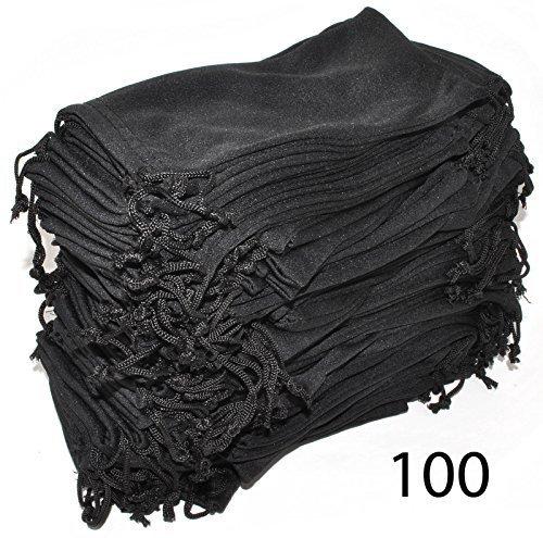 Wholesale Glasses Pouches Cleaning Case Bag Black 100 PCS ()