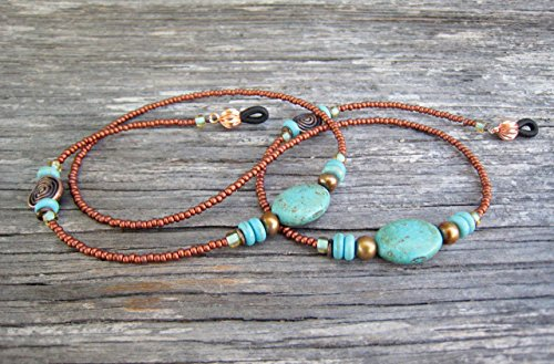 Copper Imitation-Turquoise Beaded Eyeglass Chain - Glasses Imitation