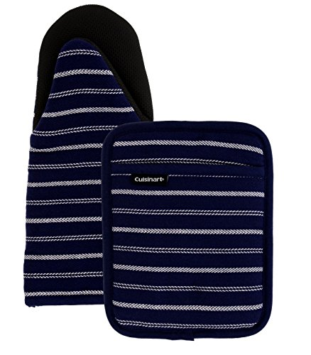 Cuisinart Puppet Oven Mitt & Potholder with Pocket Set w/Neoprene for Easy Gripping, Heat Resistant up to 500 Degrees F, Twill Stripe- Navy Aura