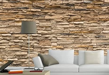 Amazoncom Modern D Brick Stone Style Wallpaper Bedroom Living - 3d brick wallpaper living room