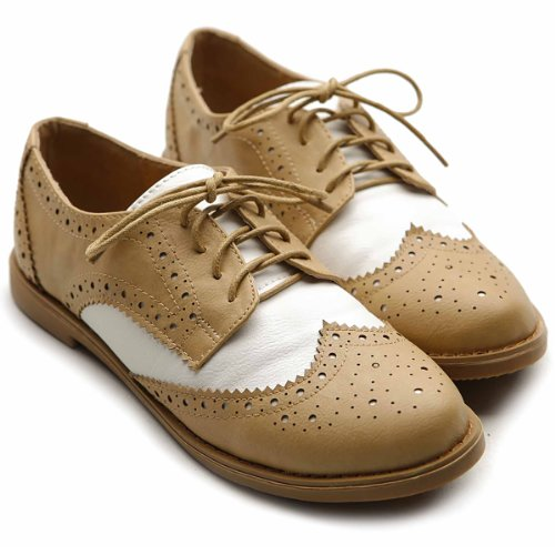 8bb710d0af0d Ollio Women s Flat Shoe Wingtip Lace Up Two Tone Oxford M2913(6 B(M ...
