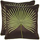Safavieh Pillow Collection 18-Inch Dandelion Pillow, Brown and Green, Set of 2
