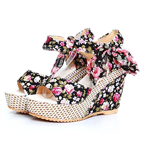 RAZAMAZA Mujer Floral Tac¨®n De Cu?a Correa Tobillo Plataforma Tacones Sandalias Negro