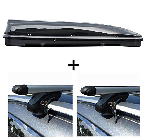 Roof Rack Cross Bars black for Peugeot 207 SW Estate 07-12 with open roof rails