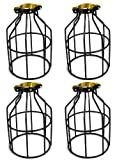 Newhouse Lighting Metal Lamp Guard for Pendant String Lights and Vintage Lamp Holders, Industrial Wire Iron Bird Cage, 4-Pack
