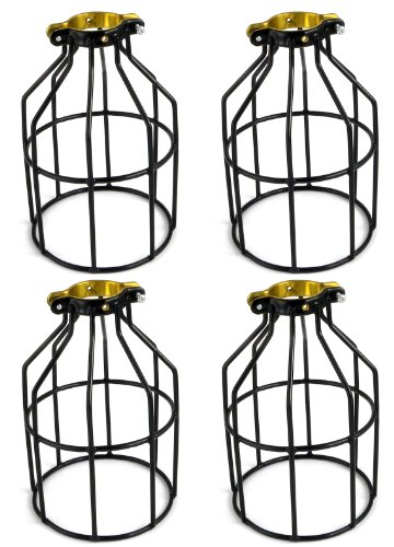 Newhouse Lighting Metal Lamp Guard for Pendant String Lights and Vintage Lamp Holders, Industrial Wire Iron Bird Cage, 4-Pack (Bird String Lights)