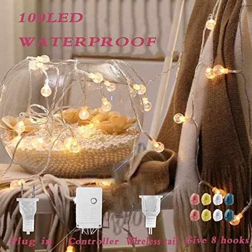 potulas LED String Light 33 Ft,100 LED Plug in Outdoor/Indoor Lights for Patio Bedroom Backyard Garden,IP65 Waterproof,8 Small Hooks for Easy Hanging,End-to-end Connectable (Warm Color, 33)