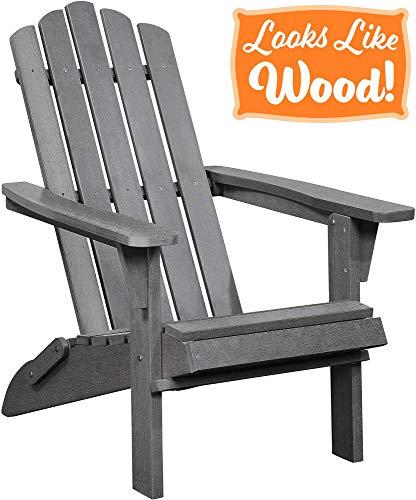 PolyTEAK Classic Folding Adirondack Chair, Stone Gray - Looks Like Wood - All Weather Waterproof Material - Poly Resin Adirondack - Foldable Chair - Feels Like Teak ()