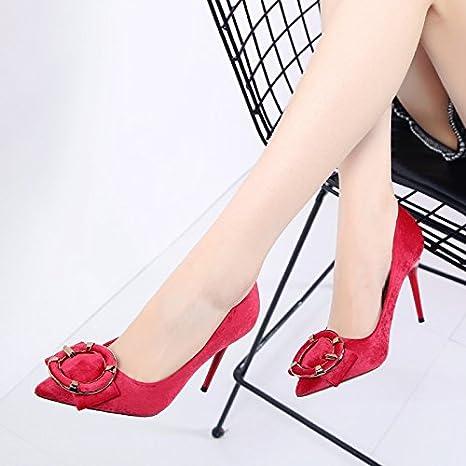 HGTYU-La versione coreana di peluche High scarpe con tacco punta il clip per cintura Bow Tie scarpe ripartiti per il matrimonio di rosso le…