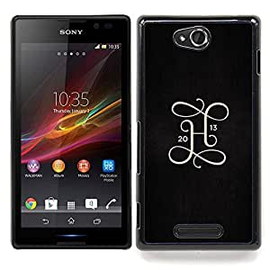 /Skull Market/ - 2013 H Letter Initial Gold Black Metal For Sony Xperia C S39h C2305 - Mano cubierta de la caja pintada de encargo de lujo -