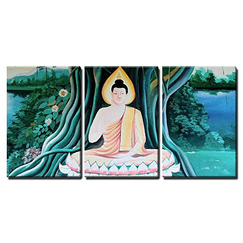 wall26-3 Piece Canvas Wall Art - Old Painting of Buddha - Modern Home Decor Stretched and Framed Ready to Hang - 24
