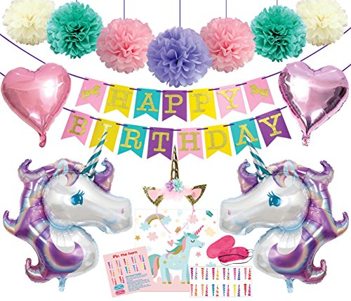 Unicorn Party Supplies Decorations Kit- Unicorn Happy Birthday Banner Glitter with Unicorn Horn Headband Foil Balloons Pom Poms - Pin The Horn On The Unicorn Game Birthday Party Favors