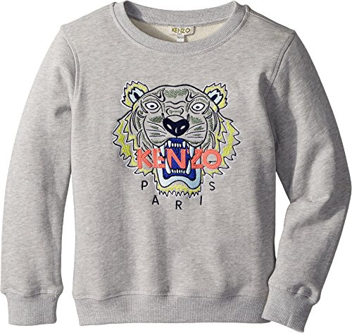 Kenzo Kids Girl's Sweat Classic Tiger (Big Kids) MARL Grey 8A by Kenzo Kids