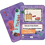 NEATLINGS Chore Cards Self-Care Deck ● 34 Self-Care Chores & 21 Ticket Cards ● Reward & Responsibility ● Purple