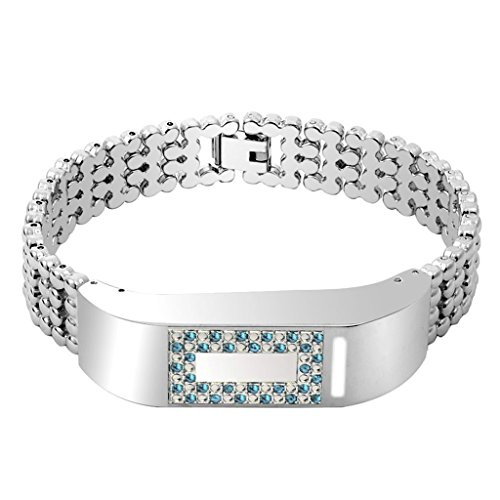 bit Flex Bands,Stainless Steel Metal Replacement Wristband with Frame Bling Rhinestone Adjustable Bracelet Durable Light Blue ()