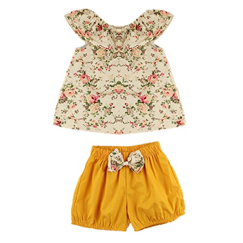 puseky Infant Toddler Baby Girls Floral Ruffle Shirt & Shorts Clothes Outfit Set (12-18M, Floral+Yellow)