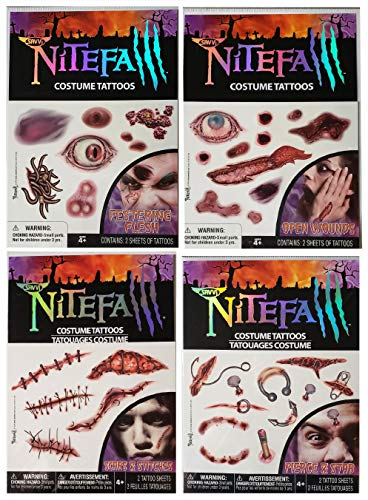 Nitefall Temporary Tattoos - Variety of Gross Scars, Wounds, Stitches, Scratches, and Piercings Bundle: 8 Sheets, 60 Costume -