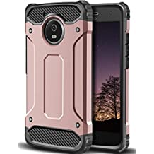 Moto G5 Case,Wollony Rugged Hybrid Dual Layer Armor Protective Back Case Shockproof Cover for Moto G5 - Slim Fit - Heavy Duty - Impact Resistant Bumper (Rose Gold)
