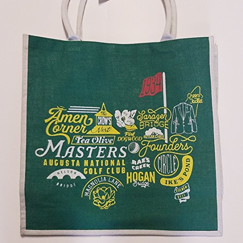 2018 Official Masters Augusta National Collage Large Jute Tote Bag