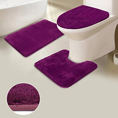 Uphome Shaggy 3-Piece Bath Rug Set, Non Slip Microfiber Soft Tub- Shower Mat Contour Rug Toilet Lid Tank Cover Combo Great Absorbency Machine Washable, Solid Purple ()