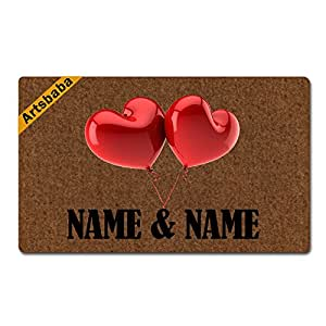 "Artsbaba Personalized Your Text Doormat Love Balloon Doormats Monogram Non-Slip Doormat Non-woven Fabric Floor Mat Indoor Entrance Rug Decor Mat 30"" x 18"""