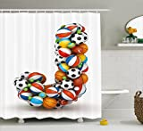 pigskin football old - Letter J Shower Curtain by Ambesonne, Letter J Capitalized Sporting Goods Basketball Football Pigskin Fun Games Design, Fabric Bathroom Decor Set with Hooks, 84 Inches Extra Long, Multicolor