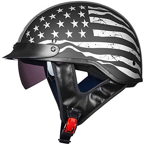 ILM Half Helmet Motorcycle Open Face Sun Visor Quick Release Buckle DOT Approved Cycling Motocross Suits Men Women (M