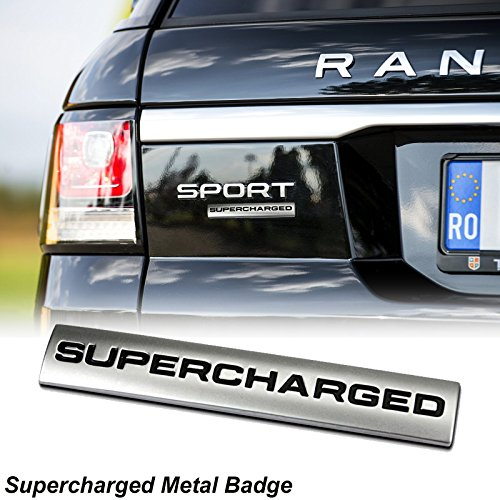 (1 Piece 3D Metal SUPERCHARGED Emblem Trunk Lid Dash Sticker Fender Badge For Range Rover)