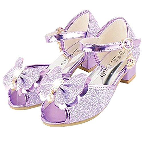 Bumud Kid's Fashion Little Girl's Glitter Pretty Party Dress Pumps Sandals (13 M US Little Kid, Purple)